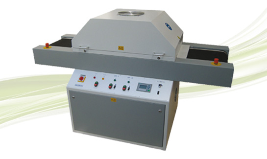 UV dryer with belt transport for single side assembled printed circuit boards